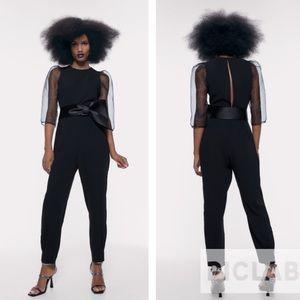 Zara black organza sleeves jumpsuit